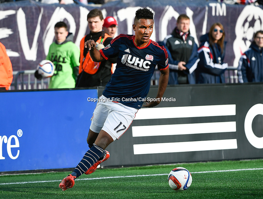March 21, 2015 - Foxborough, Massachusetts, U.S. - New England Revolution forward Juan Agudelo (17) in game action during the MLS game between the Montreal Impact and the New England Revolution held at Gillette Stadium in Foxborough Massachusetts. The Revolution and the Impact ended the game tied 0-0. Eric Canha/CSM
