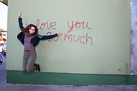"Iconic Austin: ""i love you so much"" mural in a famous Austin landmark on South Congress Avenue in downtown Austin, Texas - Stock Image."