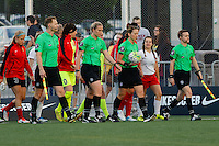 Rochester, NY - Friday July 01, 2016: Danielle Brzezinski-Chesky, Ben Pilgrim, Jeffrey Skinker, Lauren Dearman during a regular season National Women's Soccer League (NWSL) match between the Western New York Flash and the Chicago Red Stars at Rochester Rhinos Stadium.