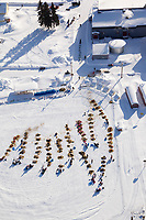 Saturday March 10, 2012  Aerial view of the Nulato checkpoint, with 5-time Iditarod champion, Rick Swenson, approaching the checkpoint. Iditarod 2012.