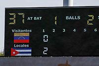 Acciones de juego de los Alazanes de Granma Cuba contra Caribes de Anzoátegui Venezuela.  durante las acciones de la Serie del Caribe en Guadalajara, México,  viernes 2 feb 2018.