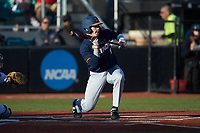 Jacob Campbell (9) of the Illinois Fighting Illini squares to bunt against the Coastal Carolina Chanticleers at Springs Brooks Stadium on February 22, 2020 in Conway, South Carolina. The Fighting Illini defeated the Chanticleers 5-2. (Brian Westerholt/Four Seam Images)