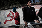A leftist sign (hammer and sickle) seen at a street corner in Thamel in capital Kathmandu, Nepal