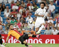 Real Madrid's Marcelo Vieira (r) and Galatasaray's Emre Colak during XXXVI Santiago Bernabeu Trophy. August 18,2015. (ALTERPHOTOS/Acero)