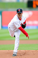 Pawtucket Red Sox starting pitcher Steven Wright (18) during a game versus the Syracuse Chiefs at McCoy Stadium in Pawtucket, Rhode Island on April 30, 2015.  (Ken Babbitt/Four Seam Images)