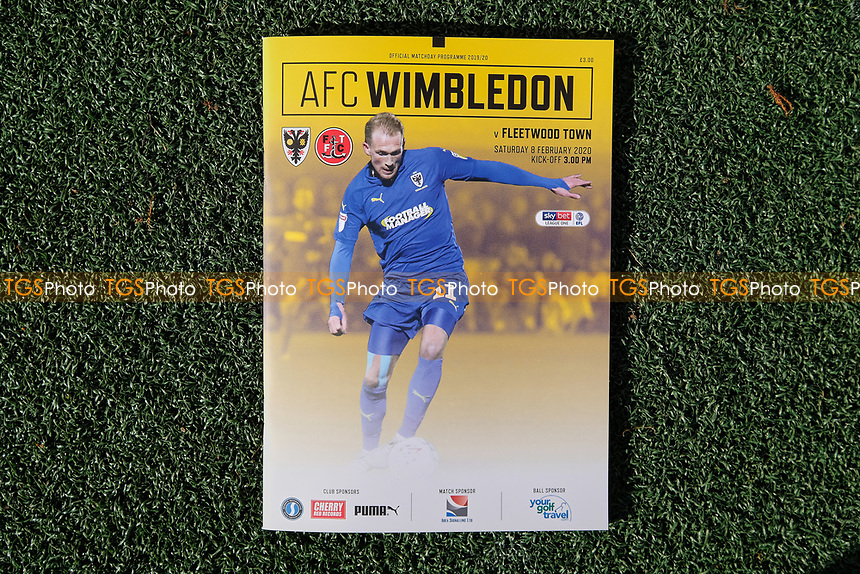 Mitch Pinnock on the front cover of the match day programme AFC Wimbledon vs Fleetwood Town, Sky Bet EFL League 1 Football at the Cherry Red Records Stadium on 8th February 2020