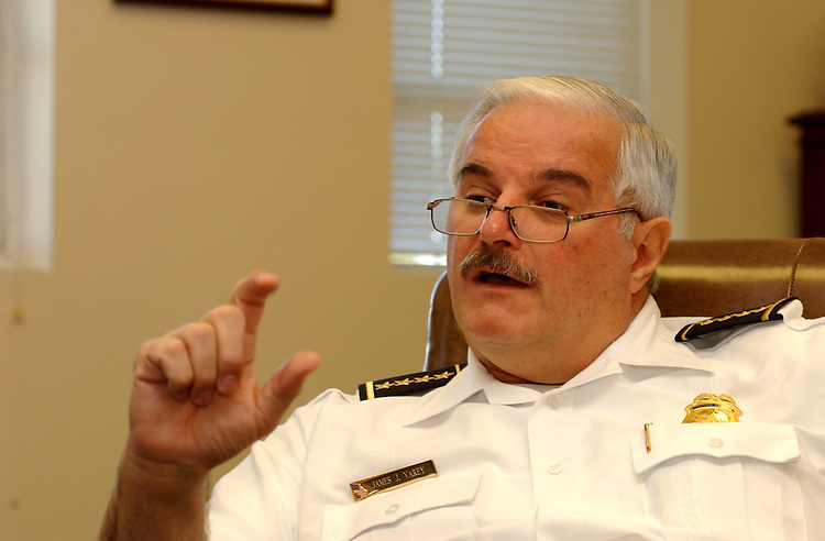 5chief071301 -- United States Capitol Police chief James J. Varey during an interview with Roll Call.