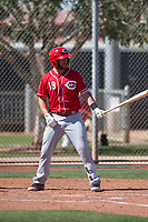 Cincinnati Reds first baseman DJ Peterson (19) during a Minor League Spring Training game against the Chicago White Sox at the Cincinnati Reds Training Complex on March 28, 2018 in Goodyear, Arizona. (Zachary Lucy/Four Seam Images)