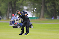 Thongchai Jaidee (THA) plays his 2nd shot on the 1st hole during Saturday's Round 3 of the 2017 Omega European Masters held at Golf Club Crans-Sur-Sierre, Crans Montana, Switzerland. 9th September 2017.<br /> Picture: Eoin Clarke | Golffile<br /> <br /> <br /> All photos usage must carry mandatory copyright credit (&copy; Golffile | Eoin Clarke)