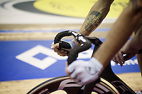 cycle-tattoo by David Muntaner (ESP) at the start of the derny race<br /> <br /> 2015 Gent 6