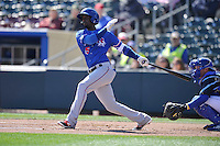 Round Rock Express second baseman Pedro Ciriaco (15) swings against the Omaha Storm Chasers at Werner Park on April 12, 2016 in Omaha, Nebraska.  The Express won 6-4.  (Dennis Hubbard/Four Seam Images)