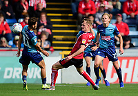 Lincoln City's Callum Connolly vies for possession with  Wycombe Wanderers' Scott Kashket<br /> <br /> Photographer Andrew Vaughan/CameraSport<br /> <br /> The EFL Sky Bet League One - Wycombe Wanderers v Lincoln City - Saturday 7th September 2019 - Adams Park - Wycombe<br /> <br /> World Copyright © 2019 CameraSport. All rights reserved. 43 Linden Ave. Countesthorpe. Leicester. England. LE8 5PG - Tel: +44 (0) 116 277 4147 - admin@camerasport.com - www.camerasport.com