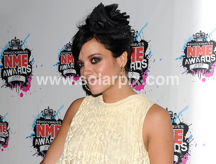 **ALL ROUND PICTURES FROM SOLARPIX.COM**.**WORLDWIDE SYNDICATION RIGHTS**.Outside arrivals at the Shockwaves NME Awards 2010, held at the Carling Brixton Academy, London, UK. 24 February 2010..This pic: Lily Allen..JOB REF: 10788 SSD     DATE: 24_10_2010.**MUST CREDIT SOLARPIX.COM OR DOUBLE FEE WILL BE CHARGED**.**MUST NOTIFY SOLARPIX OF ONLINE USAGE**.**CALL US ON: +34 952 811 768 or LOW RATE FROM UK 0844 617 7637**