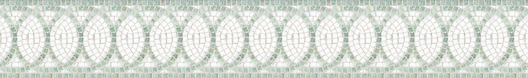 """6"""" Satori border, a hand-cut mosaic shown in tumbled Ming Green and Thassos by New Ravenna."""