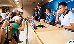 Apoel's coach Giorgos Donis and Igor de Camargo attends to the Apoel FC press conference before Champions League match between Real Madrid and Apoel at Santiago Bernabeu Stadium in Madrid, Spain September 12, 2017. (ALTERPHOTOS/Borja B.Hojas)