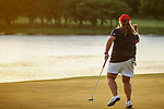STILLWATER, OK -  Haley Moore of Arizona reacts to sinking a putt on the 18th green to win the Division I Women's Golf Team Match Play Championship held at the Karsten Creek Golf Club on May 23, 2018 in Stillwater, Oklahoma. (Photo by Shane Bevel/NCAA Photos via Getty Images)