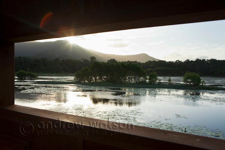 View through bird hide at Cattana Wetlands.  Smithfield, Cairns, Queensland, Australia