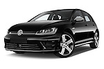 Stock pictures of low aggressive front three quarter view of a 2014 Volkswagen Golf R 5 Door Hatchback 4WD Low Aggressive