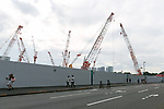 Cranes are seen at the New National Stadium under construction on July 2, 2017, Tokyo. The New National Stadium will be the venue for 2019 Rugby World Cup, 2020 Tokyo Olympic and Paralympic Games. (Photo by Rodrigo Reyes Marin/AFLO)