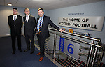 Neil Doncaster, Stewart Regan and David Longmuir after reaching broad consensus on a restructuring of Scottish Football at Hampden today