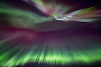The northern lights burst into a coronal display during a display of high activity in March of 2013.