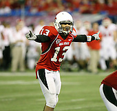 January 5th, 2008:  Ball State quarterback Nate Davis (13) yells the play during the fourth quarter of the International Bowl at the Rogers Centre in Toronto, Ontario Canada...Rutgers defeated Ball State 52-30.  ..Photo By:  Mike Janes Photography