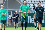 04.07.2019, Parkstadion, Zell am Ziller, AUT, TL Werder Bremen - Tag 00<br /> <br /> im Bild / picture shows 1. Training im TL Zillertal am Mittwoch abend<br /> <br /> Milot Rashica (Werder Bremen #07)<br /> Jiri Pavlenka (Werder Bremen #01)<br /> Florian Kohfeldt (Trainer SV Werder Bremen)<br /> <br /> Foto © nordphoto / Kokenge