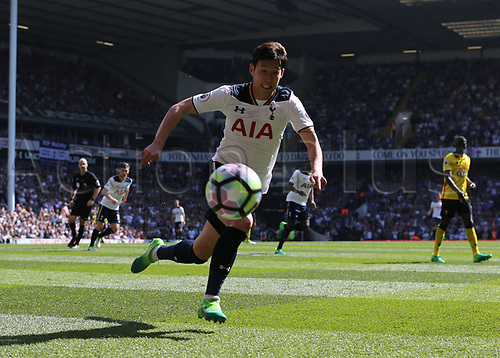 April 8th 2017,White Hart Lane, Tottenham, London, England; EPL Premier league football, Tottenham Hotspur versus Watford; Son Heung-Min of Tottenham Hotspur chasing the ball