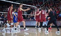STANFORD, CA - March 2, 2019: Eli Wopat, Jordan Ewert, Kyle Dagostino, Stephen Moye, Jaylen Jasper at Maples Pavilion. The Stanford Cardinal defeated BYU 25-20, 25-20, 22-25, 25-21.