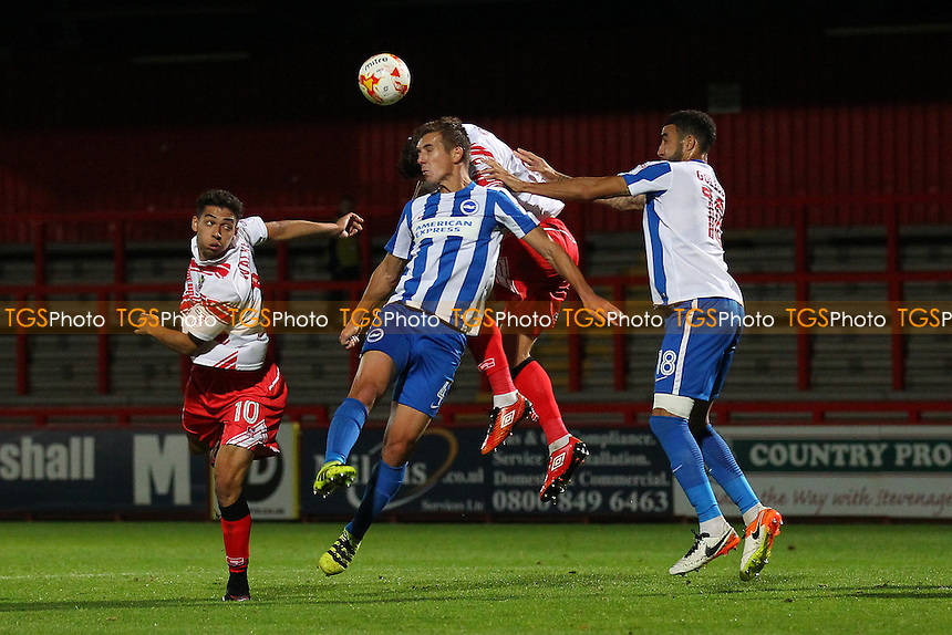 Tyler Walker of Stevenage (L) goes close to a goal during Stevenage vs Brighton & Hove Albion Under-23, Checkatrade Trophy Football at the Lamex Stadium on 4th October 2016