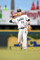 Jupiter Hammerheads second baseman Noah Perio (24) throws to first during a game against the Bradenton Marauders on April 17, 2014 at McKechnie Field in Bradenton, Florida.  Bradenton defeated Jupiter 2-1.  (Mike Janes/Four Seam Images)