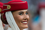 Stewardess of Emirates during the match of La Liga between Real Madrid and Futbol Club Barcelona at Santiago Bernabeu Stadium  in Madrid, Spain. April 23, 2017. (ALTERPHOTOS)