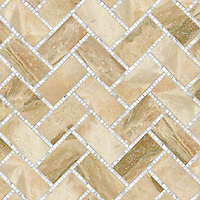 Puccini, a hand-cut stone mosaic, shown in polished Breccia Oniciata and Calacatta Tia.