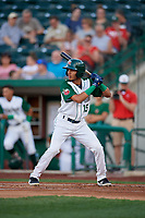 Fort Wayne TinCaps Tucupita Marcano (15) during a Midwest League game against the Peoria Chiefs on July 17, 2019 at Parkview Field in Fort Wayne, Indiana.  Fort Wayne defeated Peoria 6-2.  (Mike Janes/Four Seam Images)