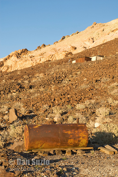 Water tank at Ryan, California, a 1920s mining camp in the Greenwater Range on the Eastern edge of Death Valley