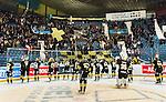 Stockholm 2015-01-04 Ishockey Hockeyallsvenskan AIK - Vita H&auml;sten :  <br /> AIK:s spelare firar segern &ouml;ver Vita H&auml;stens framf&ouml;r AIK:s supportrar efter matchen mellan AIK och Vita H&auml;sten <br /> (Foto: Kenta J&ouml;nsson) Nyckelord:  AIK Gnaget Hockeyallsvenskan Allsvenskan Hovet Johanneshov Isstadion Vita H&auml;sten jubel gl&auml;dje lycka glad happy supporter fans publik supporters