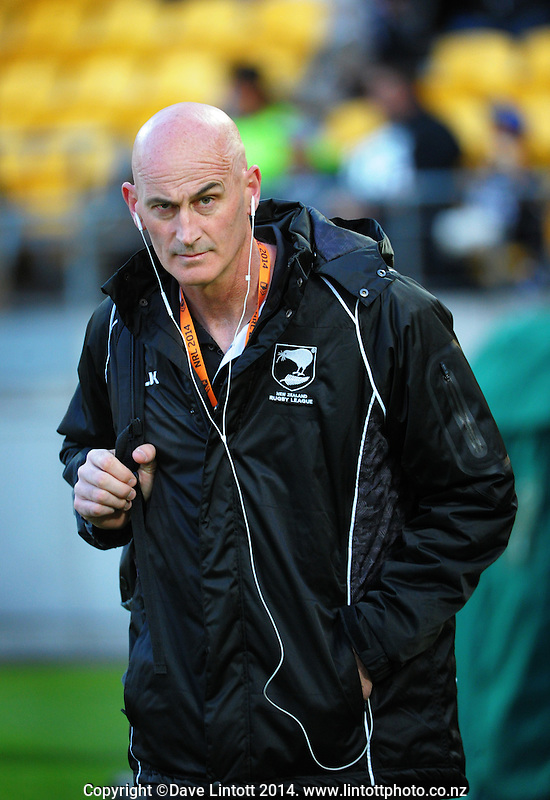 NRZL media manager Grant Chapman during the Four Nations rugby league final between the NZ Kiwis and Australia Kangaroos at Westpac Stadium, Wellington on Saturday, 15 November 2014. Photo: Dave Lintott / lintottphoto.co.nz