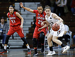 SIOUX FALLS, SD: MARCH 21:  Chelsey Shumpert #25 of Union guards Kelsey Williams #13 of Central Missouri during their game at the 2018 Division II Women's Basketball Championship at the Sanford Pentagon in Sioux Falls, S.D. (Photo by Dick Carlson/Inertia)