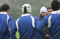 15 AUG 2007 - LOUGHBOROUGH, UK - Michael Jones gives a team talk to his Samoan team during their training camp held in preparation for the Rugby Union World Cup. (PHOTO (C) NIGEL FARROW)