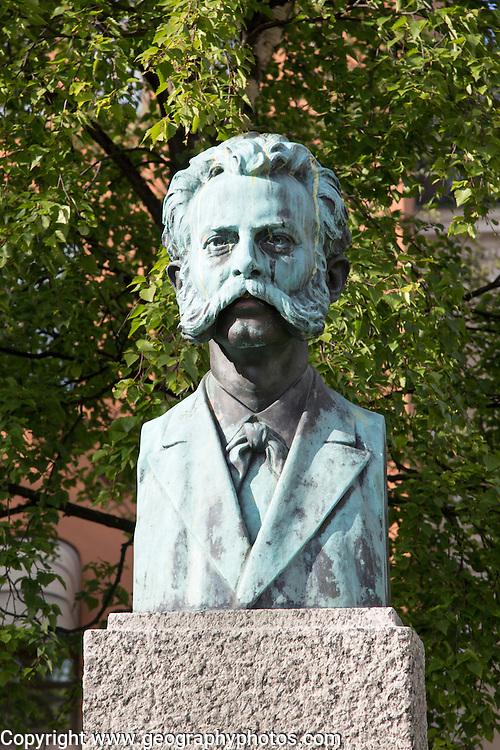 Memorial bust statue sculpture of musician Adolf Thomsen, 1852-1903, Tromso, Norway,