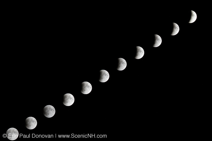 Composite image of the Supermoon lunar eclipse on September 27, 2015 from Lincoln, New Hampshire USA.