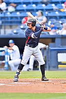 Rome Braves catcher Brett Cumberland (28) awaits a pitch during a game against the Asheville Tourists at McCormick Field on May 22, 2017 in Asheville, North Carolina. The Braves defeated the Tourists 7-3. (Tony Farlow/Four Seam Images)