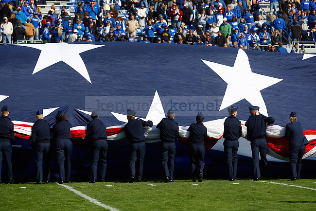 For the National Anthem UK Army and Airforce ROTC extended a field sized flag before the first half of UK vs Charleston Southern on  Saturday, Nov. 6, 2010. Photo by Britney McIntosh | Staff