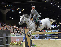 Emanuele Gaudiano (Italy), riding Caspar 232 at the Gucci Gold Cup International Jumping competition at the 2015 Longines Masters Los Angeles at the L.A. Convention Centre.<br /> October 3, 2015  Los Angeles, CA<br /> Picture: Paul Smith / Featureflash