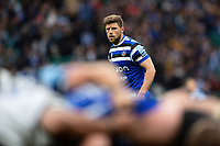 Rhys Priestland of Bath Rugby watches a scrum. Gallagher Premiership match, The Clash, between Bath Rugby and Bristol Rugby on April 6, 2019 at Twickenham Stadium in London, England. Photo by: Patrick Khachfe / Onside Images