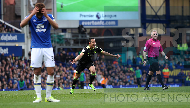 Pedro of Chelsea celebrates scoring during the English Premier League match at Goodison Park , Liverpool. Picture date: April 27th, 2016. Photo credit should read: Lynne Cameron/Sportimage