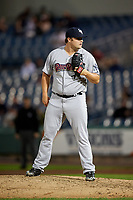 Scranton/Wilkes-Barre RailRiders relief pitcher Cale Coshow (55) looks in for the sign during a game against the Syracuse Chiefs on June 14, 2018 at NBT Bank Stadium in Syracuse, New York.  Scranton/Wilkes-Barre defeated Syracuse 9-5.  (Mike Janes/Four Seam Images)