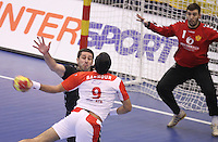 15.01.2013 Granollers, Spain. IHF men's world championship, prelimanary round. Picture show  Amine Bannour  in action during game between Tunisia vs Montenegro at Palau d'esports de Granollers