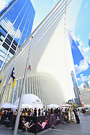 Dramatic view of a marketing event at the World Trade Center oculus plaza with the WTC and oculus in the background.