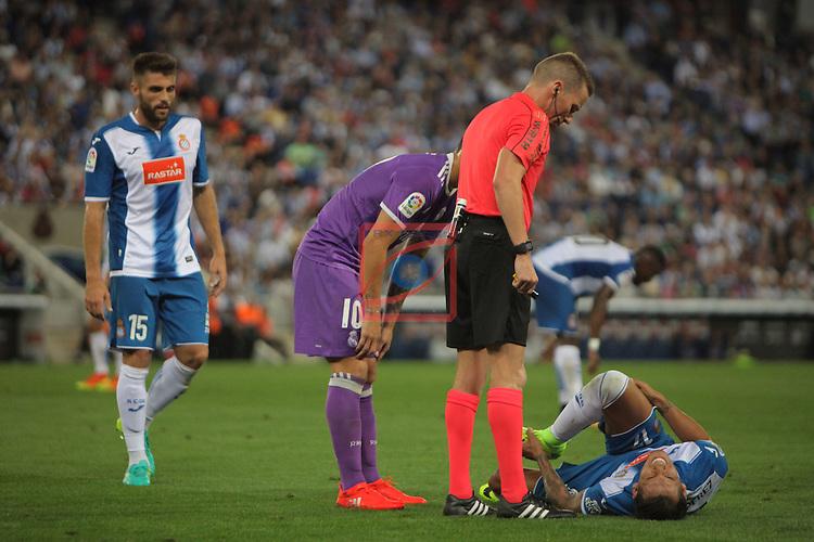 League Santander 2016/2017. Game: 4.<br /> RCD Espanyol vs R. Madrid: 0-2.<br /> Hernandez Hernandez, Hernan Perez &amp; James Rodriguez.